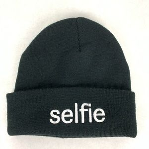 American Eagle Outfitters Black Selfie Beenie